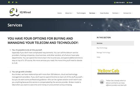 Screenshot of Services Page iqwired.net - IQ Wired: Services to Buy and Manage Telecom and Technology - captured July 27, 2018