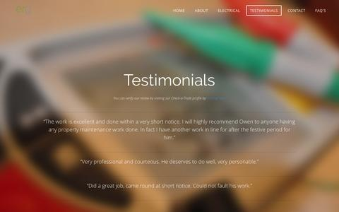 Screenshot of Testimonials Page essexrepairsgroup.co.uk - Testimonials - Essex Repairs - Local NICEIC electricians & reliable plumbers - captured July 15, 2016
