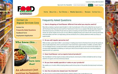 Screenshot of FAQ Page myfoodbazaar.com - Frequently Asked Questions - captured Oct. 5, 2014
