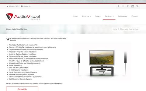 Screenshot of Services Page avxperts.ca - Home Theatres / TV Installation | Commercial Audio Video Systems - captured Oct. 4, 2014