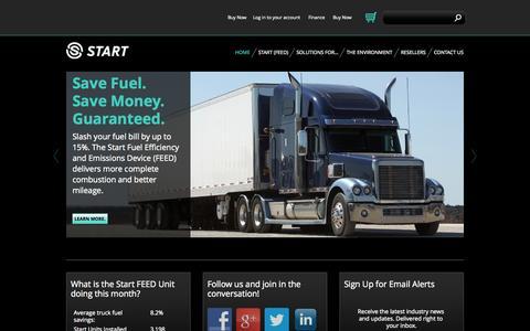 Screenshot of Home Page startfuelsavings.com - START Fuel Efficiency & Emissions Device (FEED) Fuel & Emission Saver - captured Aug. 13, 2015
