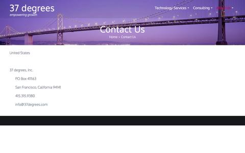 Screenshot of Contact Page 37degrees.com - Contact Us - 37 degrees - captured Nov. 7, 2017
