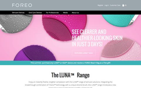 Screenshot of Home Page foreo.com - FOREO | LUNA Skincare Devices | ISSA Oral Care Devices - captured Aug. 31, 2015