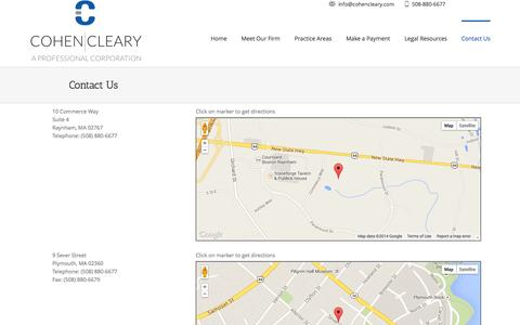 Screenshot of Contact Page Maps & Directions Page cohencleary.com - Cohen Cleary, P.C. Contact Raynham MA Attorney | Cohen Cleary, P.C. - captured Oct. 27, 2014