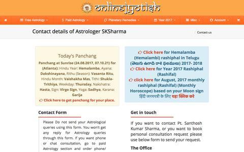 Screenshot of Contact Page onlinejyotish.com - Contact details of Astrologer SKSharma | Om Sri Sai Jyotisha Vidyapeetham - captured Aug. 24, 2017