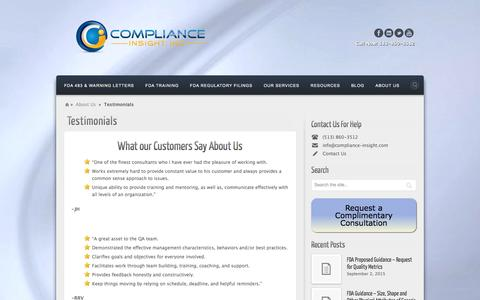 Screenshot of Testimonials Page compliance-insight.com - Testimonals | - captured Jan. 30, 2016