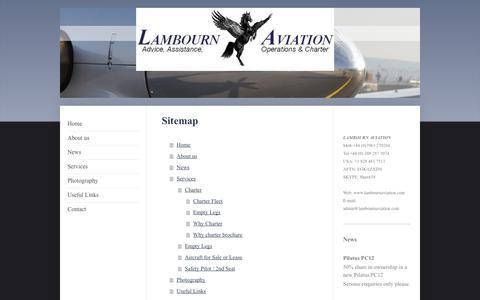 Screenshot of Site Map Page lambournaviation.com - Home - Lambourn Aviation - captured Sept. 27, 2014