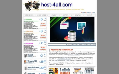 Screenshot of Home Page host-4all.com - Hosting for All Webmasters and Web Marketers - captured Sept. 23, 2014