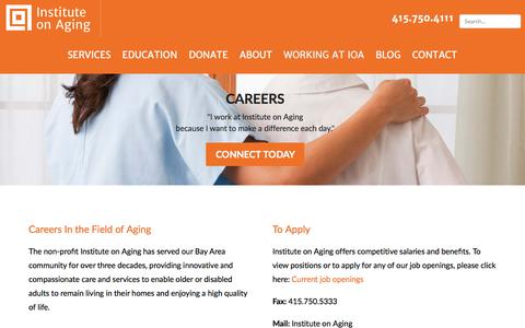 Screenshot of Jobs Page ioaging.org - Working at IOA | Career Opportunities Helping Seniors in the Bay Area - captured Oct. 15, 2017