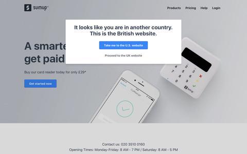 Screenshot of Home Page sumup.co.uk - Credit Card Machines - Mobile Chip and PIN Payment Solution | SumUp - captured Sept. 3, 2018