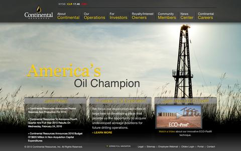 Screenshot of Home Page clr.com - Continental Resources   America's Oil Champion - captured Feb. 20, 2016