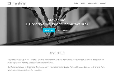 Screenshot of Home Page mayshine.com - Mayshine – creative clothing manufacturer - captured Sept. 20, 2018
