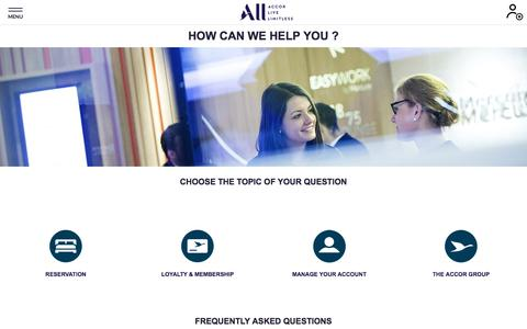 Screenshot of FAQ Page Support Page accor.com - YOUR SUPPORT SPACE - captured Dec. 3, 2019