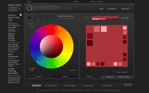 Screenshot of Home Page paletton.com - Paletton - The Color Scheme Designer - captured Nov. 11, 2015