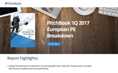 Screenshot of Landing Page pitchbook.com - PitchBook 1Q 2017 European PE Breakdown - captured May 24, 2017