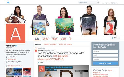 Screenshot of Twitter Page twitter.com - Artfinder (@artfinder) | Twitter - captured Oct. 25, 2014