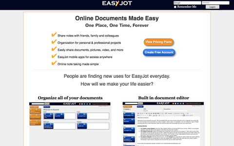 Screenshot of Home Page easyjot.com - EasyJot - Share Notes With Colleagues, Classmates, and Friends. - captured Aug. 26, 2016
