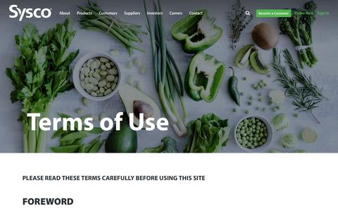 Screenshot of Terms Page sysco.com - Terms of Use - captured July 2, 2018