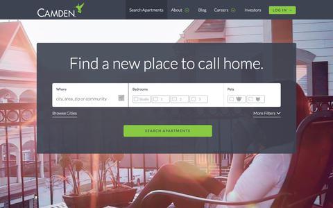 Screenshot of Home Page camdenliving.com - Luxury Apartments for Rent - CamdenLiving.com - captured Aug. 16, 2019