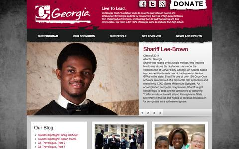 Screenshot of Home Page c5georgia.org - C5 Georgia   C5 Georgia Youth Foundation works to close the gap between income and achievement for Georgia students by transforming the lives of high-potential teens from challenged environments, empowering them to lead themselves and their communiti - captured Oct. 1, 2014