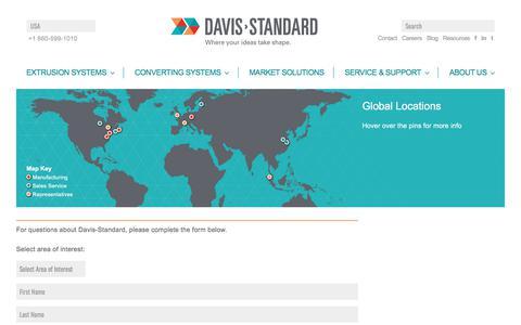 Screenshot of Contact Page davis-standard.com - Contact - Davis-Standard - captured Aug. 6, 2018