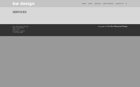 Screenshot of Services Page kenwojcieszekdesign.com - Services – Ken Wojcieszek Design - captured Sept. 20, 2018