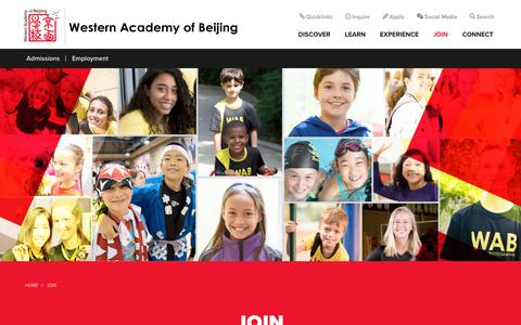 Screenshot of Signup Page wab.edu - Join | Western Academy of Beijing - captured Oct. 18, 2018