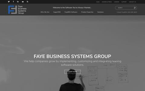 Screenshot of Home Page fayebsg.com - Software Consulting Company – CRM Consultant Los Angeles | Fayebsg - captured Oct. 7, 2018
