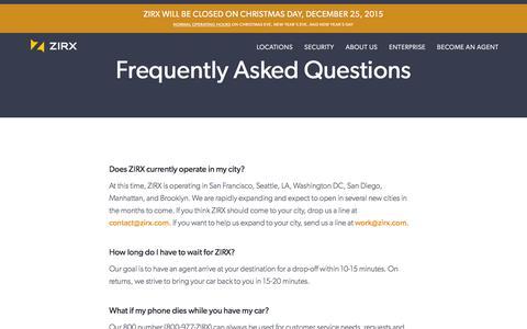 Screenshot of FAQ Page zirx.com - ZIRX — FAQ - captured Dec. 18, 2015