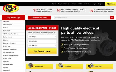 Screenshot of Home Page dbelectrical.com - Starters, Alternators and more for Cars, Trucks, Tractors and ATVs - captured June 3, 2017