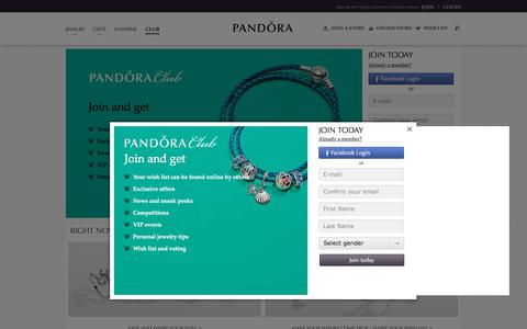 Screenshot of Signup Page Login Page pandora.net - Pandora Club - Exclusive Access to New Pieces  | PANDORA - captured July 8, 2017