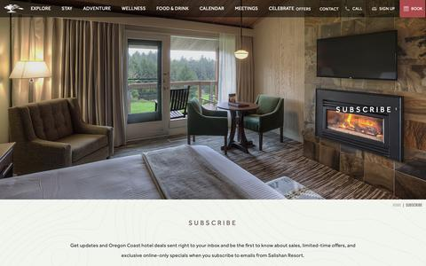 Screenshot of Signup Page salishan.com - Oregon Coast Hotel Special Offers | Salishan Resort - Subscribe - captured Dec. 17, 2018