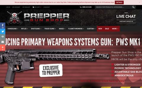 Screenshot of Home Page preppergunshop.com - Home page | Prepper Gun Shop - captured Sept. 5, 2016