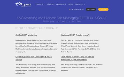 Screenshot of Trial Page txtimpact.com - SMS Marketing Trial Account | SMS API | Text Message Marketing | Business Text Messaging - captured April 29, 2018