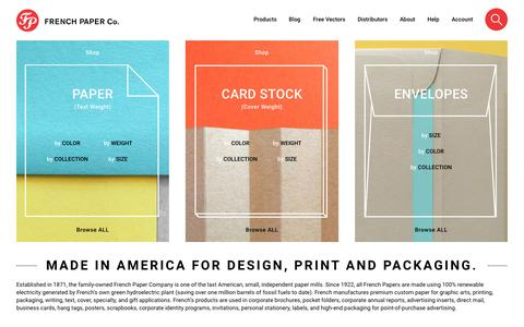 Screenshot of Home Page frenchpaper.com - Colored Paper, Colored Envelopes, Custom Paper | French Paper Co. - captured June 29, 2018
