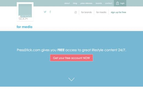 Screenshot of Press Page pressstick.com - Press Stick   Solutions for media & publishers - captured Sept. 30, 2014