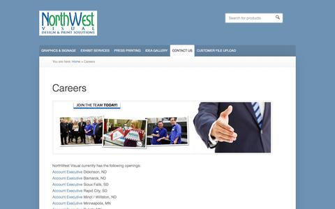 Screenshot of Jobs Page northwestvisual.com - Career - captured Oct. 9, 2014
