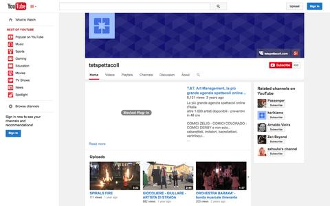 Screenshot of YouTube Page youtube.com - tetspettacoli  - YouTube - captured Nov. 5, 2014
