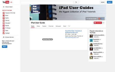 Screenshot of YouTube Page youtube.com - iPad User Guide  - YouTube - captured Nov. 2, 2014