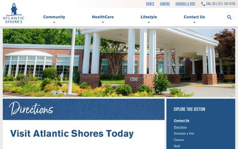 Screenshot of Maps & Directions Page atlanticshoresliving.com - Directions - Atlantic Shores Retirement Community - captured Oct. 4, 2018