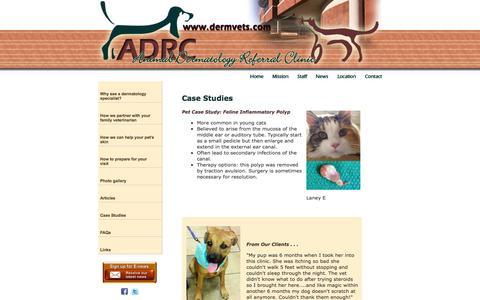 Screenshot of Case Studies Page dermvets.com - Animal Dermatology Referral Clinic - Case Study - captured Sept. 30, 2014