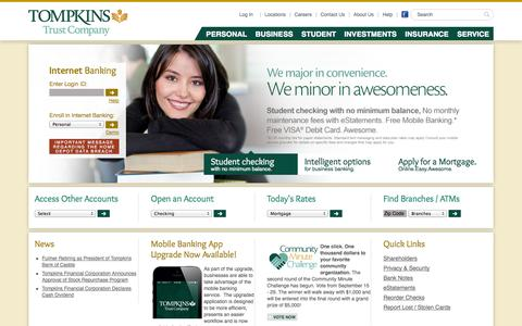Screenshot of Home Page About Page Privacy Page Jobs Page Login Page Locations Page tompkinstrust.com - Tompkins Trust Company | Personal Savings and CDs - Financial Planning - captured Sept. 22, 2014