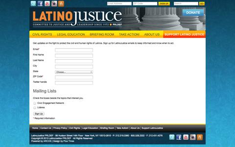 Screenshot of Signup Page latinojustice.org - LatinoJustice: Join Our Mailing List - captured Oct. 2, 2014