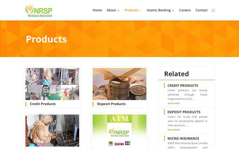 Screenshot of Products Page nrspbank.com - Products - NRSP Microfinance Bank Limited | Pakistan - captured Feb. 15, 2016
