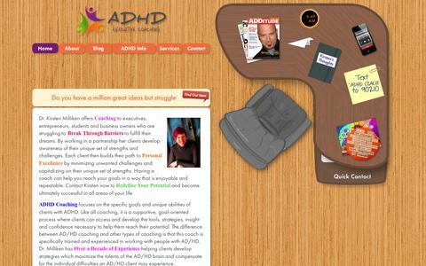 Screenshot of Menu Page adhdexecutivecoach.com - ADHD Executive Coaching - captured Oct. 4, 2014