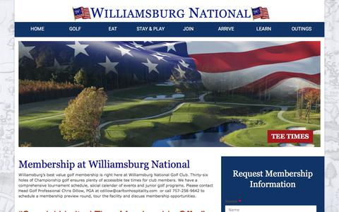 Screenshot of Signup Page wngc.com - Membership | Williamsburg National Golf Club - captured Oct. 25, 2017