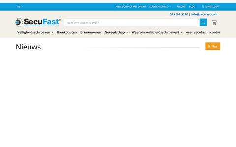 Screenshot of Press Page aluglas.com - Nieuwsarchief   SecuFast® - captured Oct. 3, 2018