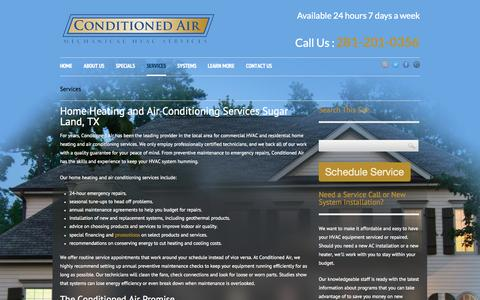 Screenshot of Services Page conditionedairtx.com - Home Heating and Air Conditioning Services Sugar Land , TX - captured Oct. 1, 2014