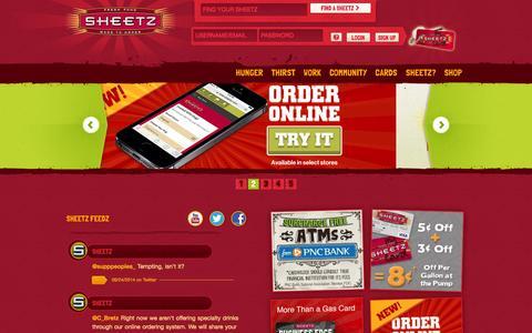 Screenshot of Home Page sheetz.com - Sheetz // - captured Sept. 24, 2014