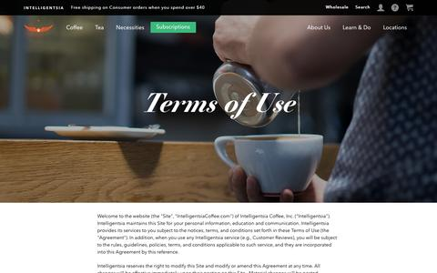 Screenshot of Terms Page intelligentsiacoffee.com - Terms of Use - captured Dec. 9, 2016